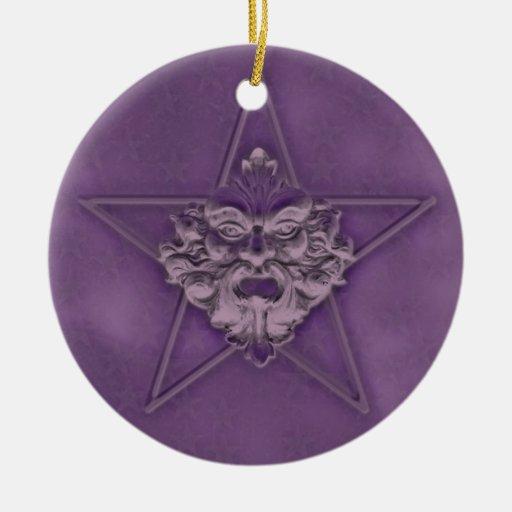 Pentagram &  Green Man Sculpture #3B Christmas Ornaments