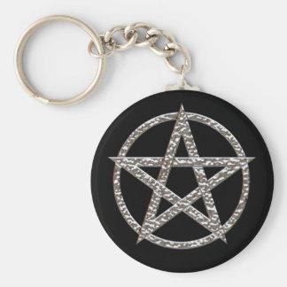 Pentagram Hammered Chrome Basic Button Key Ring Basic Round Button Key Ring