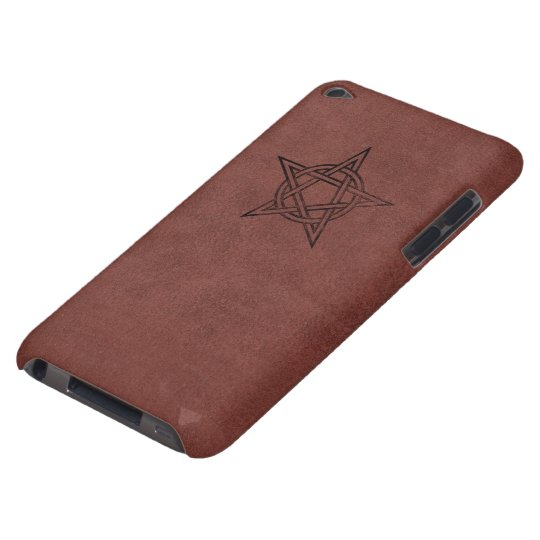 Pentagram - Pagan Magic Symbol on Red Leather iPod Touch Cases