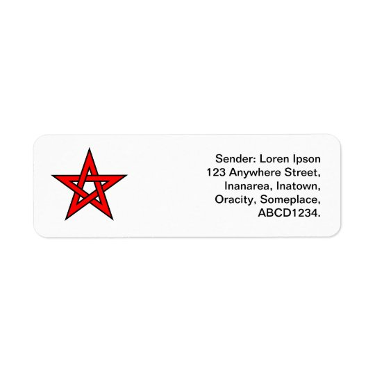 Pentagram - Red Return Address Label