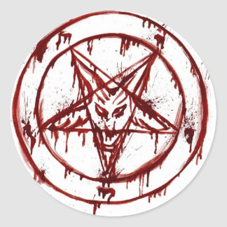 pentagram round sticker