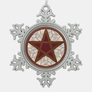 Pentagram, Tri-Quatra, Celtic Knot - Snowflake 1 Snowflake Pewter Christmas Ornament
