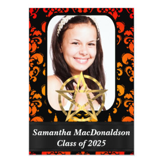 Pentagram wiccan photo graduation 13 cm x 18 cm invitation card