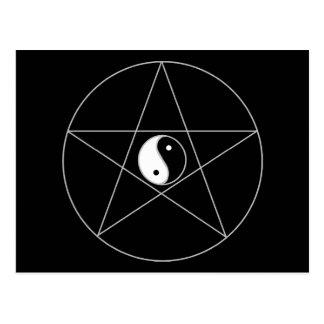 Pentagram Yin Yang white Postcard
