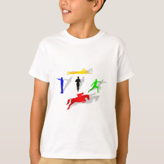Pentathlon Fencing Shooting Swimming Jumping Run T-Shirt