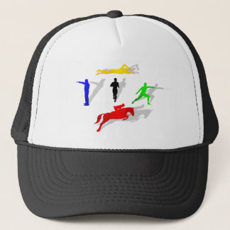 Pentathlon Fencing Shooting Swimming Jumping Run Trucker Hat