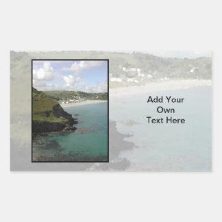 Pentewan. Cornwall. Scenic coastal view. Rectangular Sticker