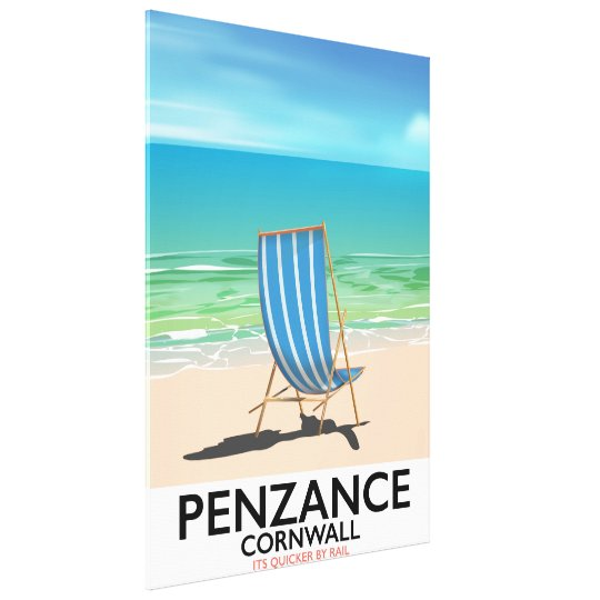 penzance beach Devon vintage travel poster Canvas Print