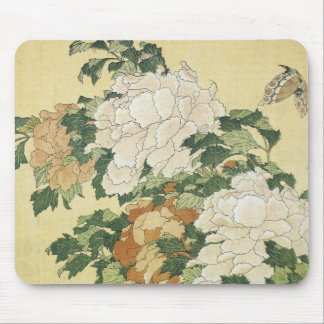 Peonies and Butterfly 1833-34 Mousepad