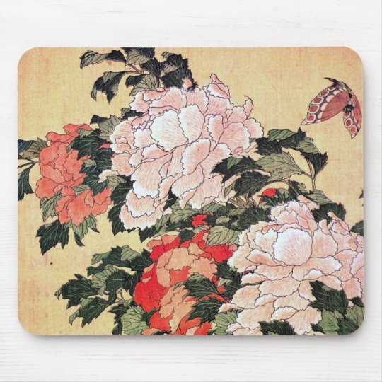 Peonies and Butterfly Hokusai Mouse Mat