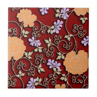 Peonies arabesque on dark red tile