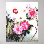 Peonies&Butterflies/Double Happiness Wedding Gift Poster