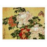 Peonies & Butterflies Hokusai Japanese Fine Art Postcard