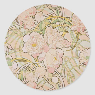Peonies by Alphonse Mucha Classic Round Sticker