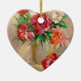 Peonies Ceramic Heart Decoration