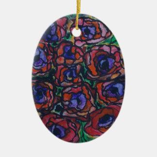 Peonies Ceramic Oval Decoration