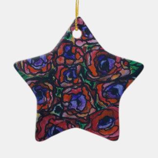 Peonies Ceramic Star Decoration