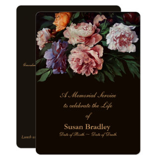 Peonies Floral Painting 2 Memorial Service Card