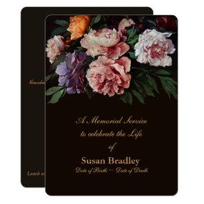 Peonies Floral Painting 2 Memorial Service Invitation