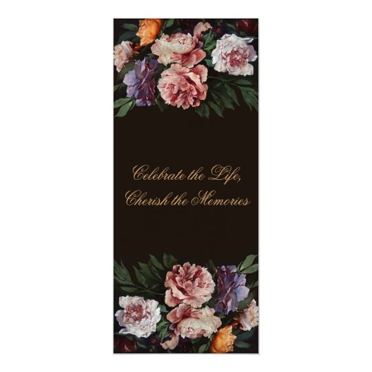 Peonies Floral Painting 3 Funeral Announcement