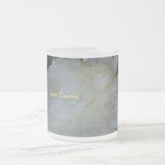 Peonies Flower Love Covers Frosted Coffee Mug
