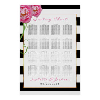 Peonies Flowers on Black & White -16 Seating Chart