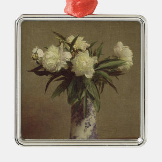 Peonies in a Blue and White Vase Christmas Ornament