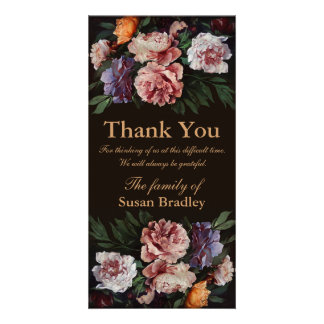 Peonies Painting 3 - Sympathy Thank You Photo Card