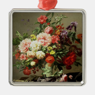 Peonies, Poppies and Roses, 1849 Silver-Colored Square Decoration