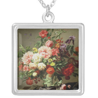 Peonies, Poppies and Roses, 1849 Silver Plated Necklace