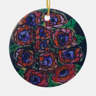 Peonies Round Ceramic Decoration