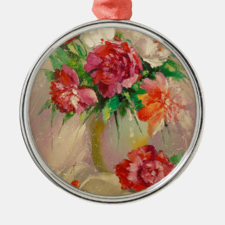 Peonies Silver-Colored Round Decoration