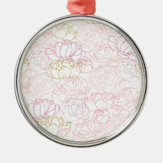 Peonies touch of gold christmas ornament