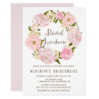 Peonies Wreath Bridal Luncheon Invitation