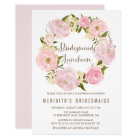 Peonies Wreath Bridesmaids Luncheon Invitation