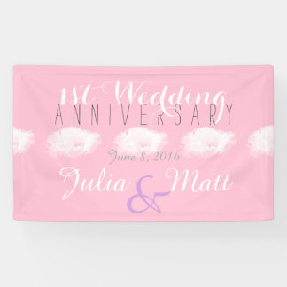 Peony 1st Wedding Anniversary personalized Banner
