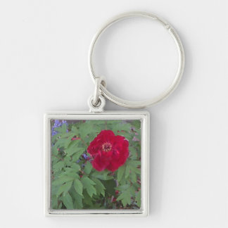 Peony and Blue Flowers Key Ring