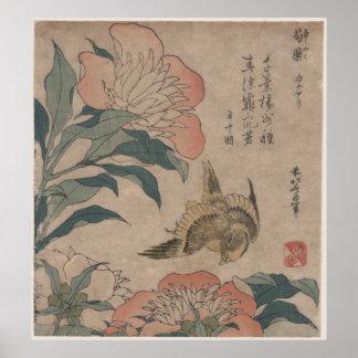 Peony and Canary by Katsushika Hokusai Poster