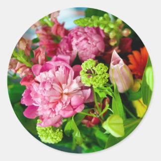 Peony Bouquet Round Sticker