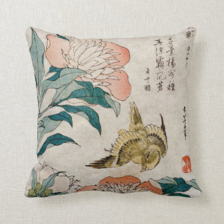 Peony & Canary Oriental Watercolor Cushion