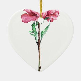 Peony Ceramic Heart Decoration