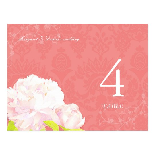 Peony + Coral Reef Wedding Table Number Postcards