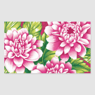 Peony design pink and red rectangle sticker