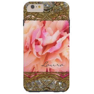 Peony Elegant Fluff Monogram Plus Tough iPhone 6 Plus Case