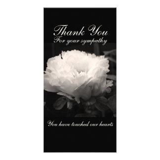 Peony Floral Photo Sympathy Thank You Cards Custom Photo Card