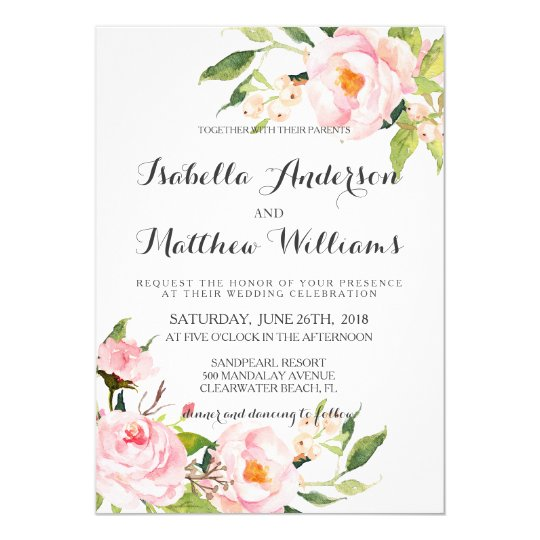 Peony Floral Wedding Invitation-2 Card