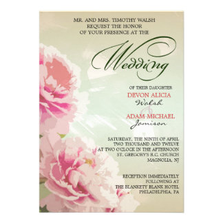 Peony Floral Wedding Invitation in Pink Green