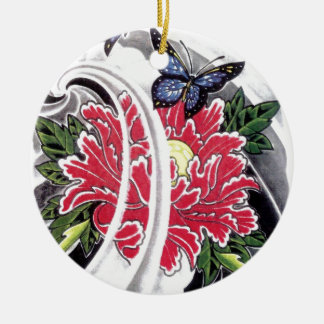 Peony Flower and Butterfly Tattoo Design Round Ceramic Decoration