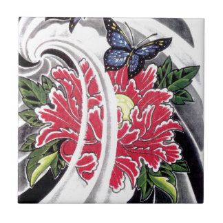 Peony Flower and Butterfly Tattoo Design Small Square Tile