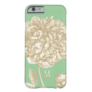 Peony Flower Botanical, Mint and Gold Monogrammed Barely There iPhone 6 Case
